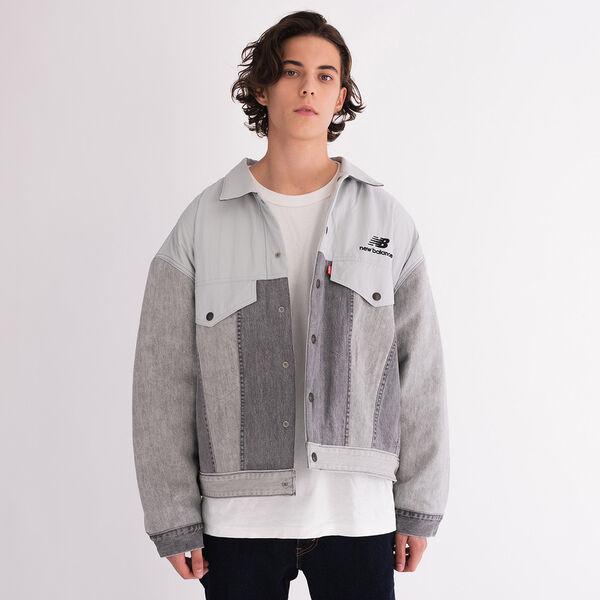 Reversible Men's Trucker Jacket (Gray)