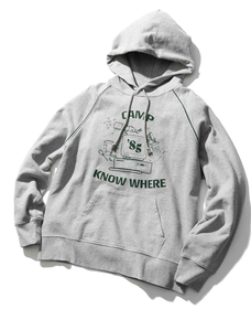 グラフィックフーディー CAMP KNOW WHERE HEATHER GREY