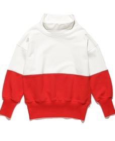 カラーブロックスウェットシャツ WHITE&DARK ORANGE