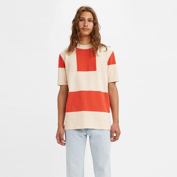 SPLIT HEM Tシャツ RED BORDER WHITE STRIPE