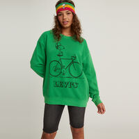 UNBASIC クルーネックスウェットシャツ Snoopy Cyclist Fern Green Garment Dye