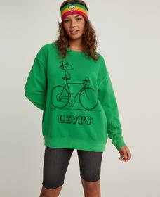 UNBASIC クルーネックスウェットシャツ Snoopy Cyclist Fern Green Garment Dye