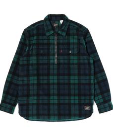 JT ハーフジップワーカーシャツ AUGUST PRINTED PLAID MINERAL BLACK PRINT