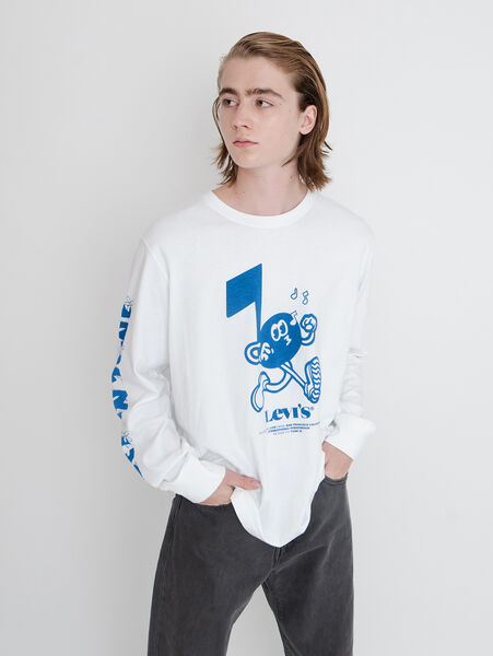 RELAXED LS GRAPHIC Tシャツ GET IN TUNE WHITE