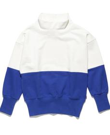 カラーブロックスウェットシャツ WHITE&ROYAL BLUE