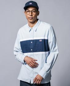 カラーブロックシャツ PACIFIC NO PKT SKYWAY