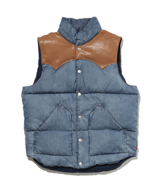 REVERSIBLE DOWN VEST MID WASHED DENIM