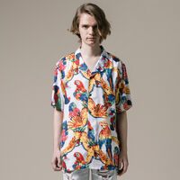 キューバシャツ PARROTS BRILLIANT WHITE PRINT