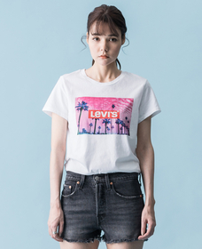 パーフェクトTシャツ PINK PALM TREE PHOTO WHITE