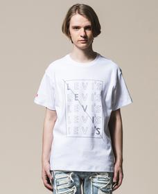 グラフィックTシャツ  WHITE WITH BLACK GRAPHIC