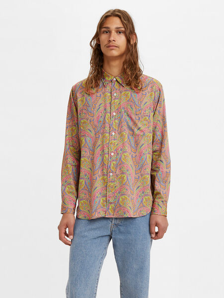 70'S BUTTON UP PAISLEY PARTY GREEN B