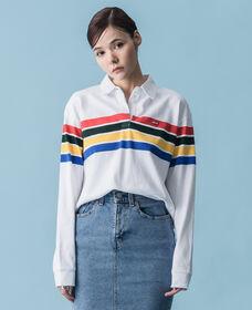 ショートラガーTシャツ WESTLEY WHITE GROUD STRIPE