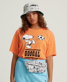グラフィックオーバーサイズTシャツ Snoopy Kick It Tbd Orange