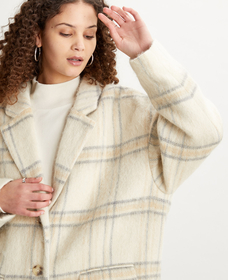 WOOL COCOON COAT WHITTIER ALMOND MILK PLAID