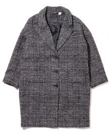 WOOL COCOON COAT DANBUNITE CAVIAR PLAID