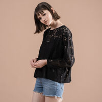MIRANDA TOP CHANTILLY CAVIAR EMBROIDERY