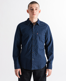 SUNSET 1ポケットシャツ SLIM ASH INDIGO PRINT