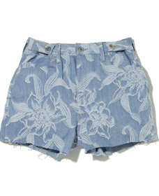 CINCHED TAB SHORT JAQUARD PALMS