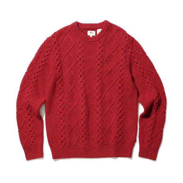 フィッシャーマンケーブルクルーネックセーター CRIMSON