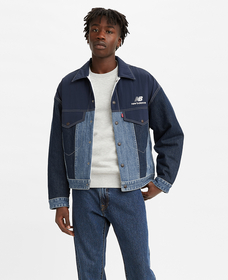 Reversible Men's Trucker Jacket (Indigo)