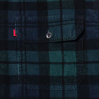 JT ハーフジップワーカーシャツ AUGUST PRINTED PLAID MINERAL BLACK PRINT
