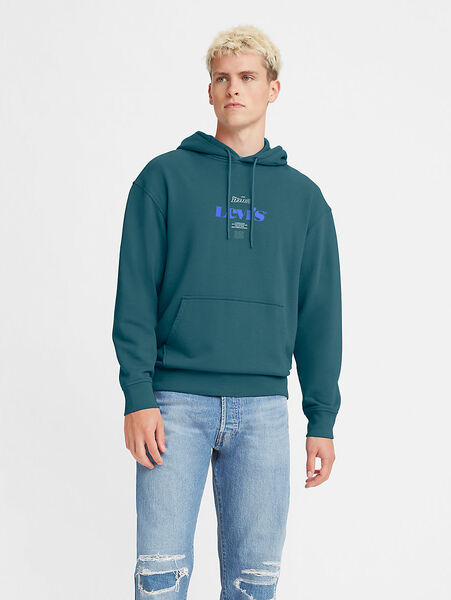 RELAXED GRAPHIC PO MV LOGO RECORD HOODIE GARMENT DYED COLONIAL BLUE