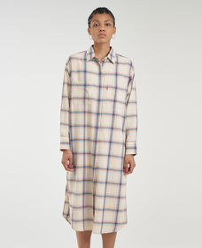 LENNON LONG DUSTER MAIA PLAID SANDSHELL
