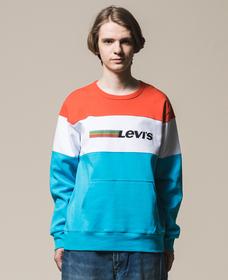 カラーブロックスウェットシャツ PIECED TOP ORANGE