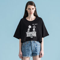 グラフィッククロップTシャツ PEANUTS SISTERS