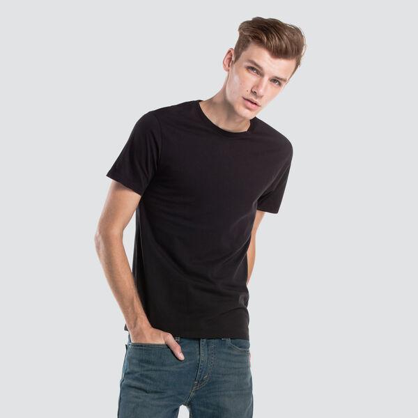 スリム2パッククルーネックTシャツ-ブラック