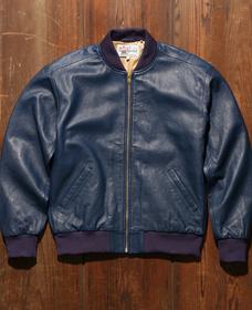レザーボンバージャケット DARK BLUE