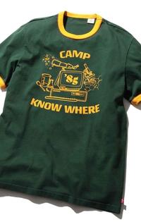 リンガーTシャツ CAMP KNOW WHERE DARK GREEN GRAPHIC