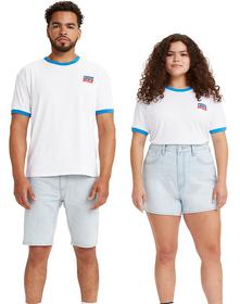UNISEX SS GRAPHIC RINGER Tシャツ WAVING SW WHITE