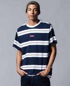 リラックスグラフィックTシャツ BABY TAB BOLT STRIPE DRESS BLUES/ WHITE