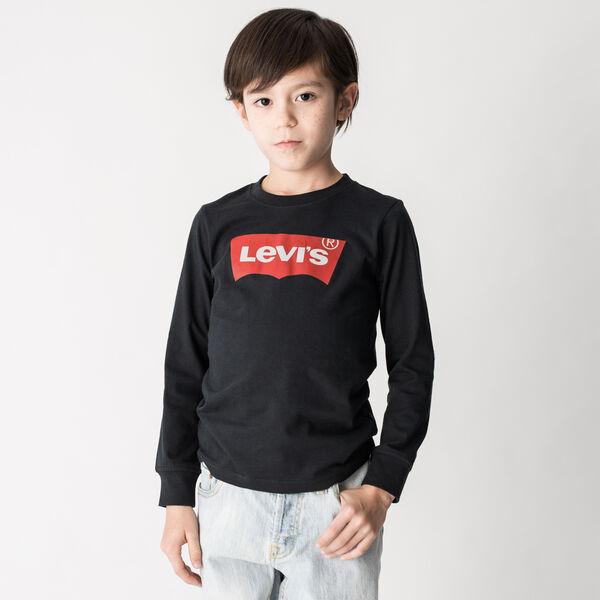 バットウィングロングスリーブTシャツ ブラック (身長90-120cm)