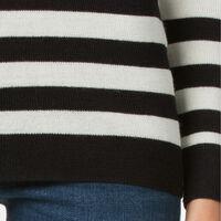 ストライプモックネックセーター