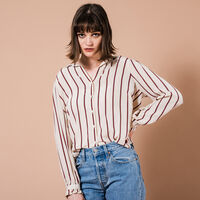 MARCEY TOP SPLIT ROCK STRIPE SANDSHELL