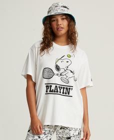 グラフィックオーバーサイズTシャツ Snoopy Playin' Marshmallow