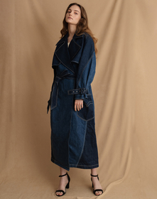 LR TWISTED TRENCH COAT CRYSTALINE
