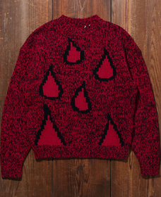 LOOSE クルーネックセーター RED TEARS RED BLACK