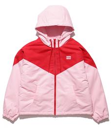 カラーブロックショートジャケット PALE PINK / RED