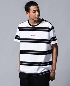 リラックスグラフィックTシャツ BABY TAB BOLT STRIPE WHITE/ BLACK STRIPE