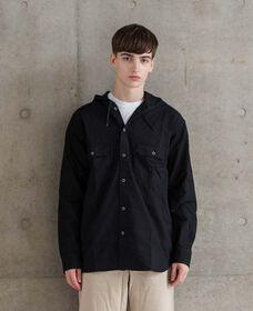 ワーカーシャツ フード付 BLACK