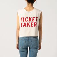 1960'SリバーシブルTシャツ/ナチュラル/レッド/TICKETTAKER