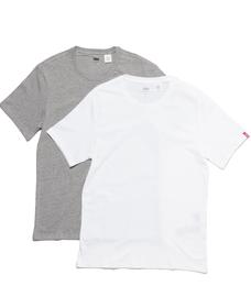 スリム2パッククルーネックTシャツ-MID MELE /WHITE