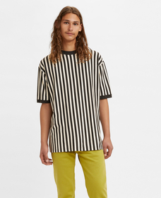 RIBBED CUFF Tシャツ BLACK VERTICAL WHITE