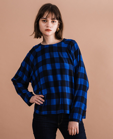 MIRANDA TOP CAREY SODALITE BLUE PLAID