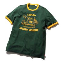 リンガーTシャツ CAMP KNOW WHERE DARK GREEN GRAPHIC
